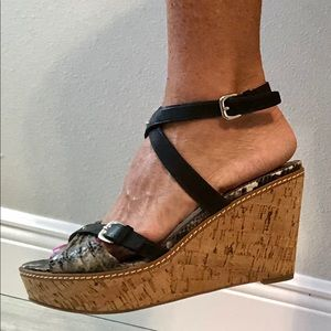 Marc Fisher snake skin and black strap shoes wedge